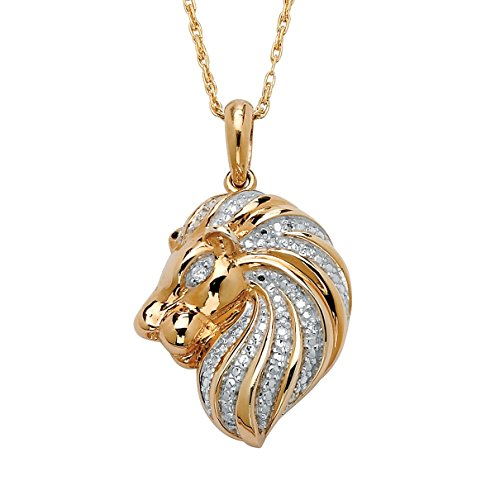 White Diamond Accent 18k Gold over .925 Silver Lion Pendant Necklace 18