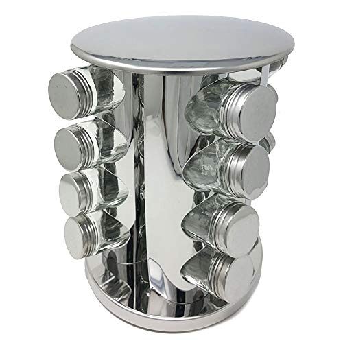 (Stainless Steel Spice & Herb Rack Modern Luxury Design Space-Saving Carousel Organizer with 16 Glass Bottles for Pantry and Countertop)
