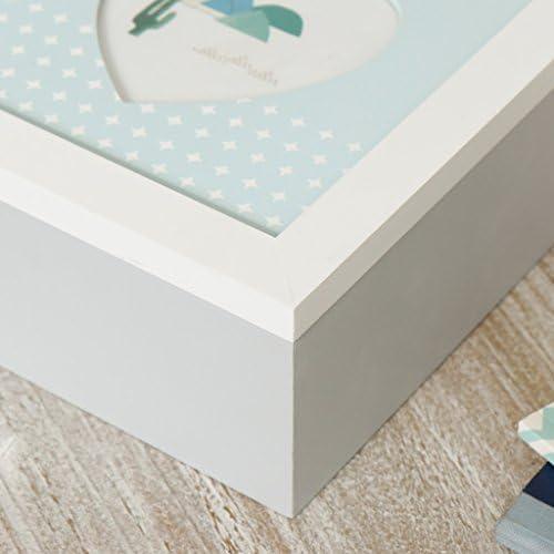 bautizo o baby shower. ideal para fotograf/ías y otros recuerdos preciosos ideal como regalo para un nuevo beb/é Encantadora caja de recuerdos con forma de coraz/ón para marco de fotos