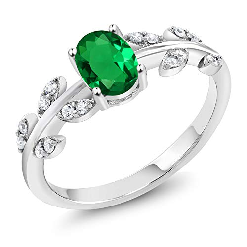 Gem Stone King 0.81 Ct Oval Green Simulated Emerald 925 Sterling Silver Olive Vine Ring (Size 8)