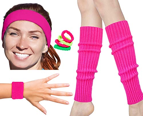 80s Workout Costumes for Women | 80s Accessories for Women | 80s Leg Warmers Set Neon ()