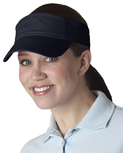 UltraClub Women's Classic Cut Chino Cotton Twill Visor Cap, NAVY, One Size (Cotton Chino Twill Cap)