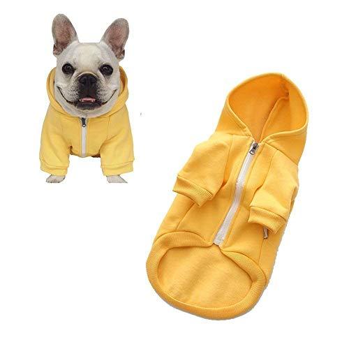 Meioro Dog Clothes Hoodies Pet Cat Warm Soft Cotton Zipper Sweater Coat French Bulldog Pug(XXL,Yellow) ()