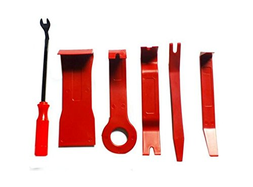 6x Car Radio Audio Stereo Door Trim Dash Panel Install Removal Pry Tool Kit - Red