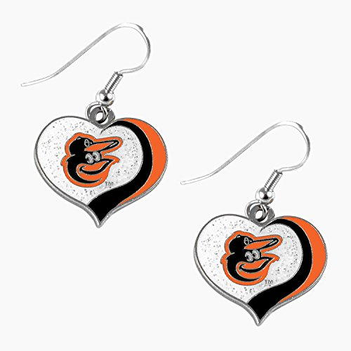 (aminco MLB Baltimore Orioles Glitter Heart Earring Swirl Charm Set)