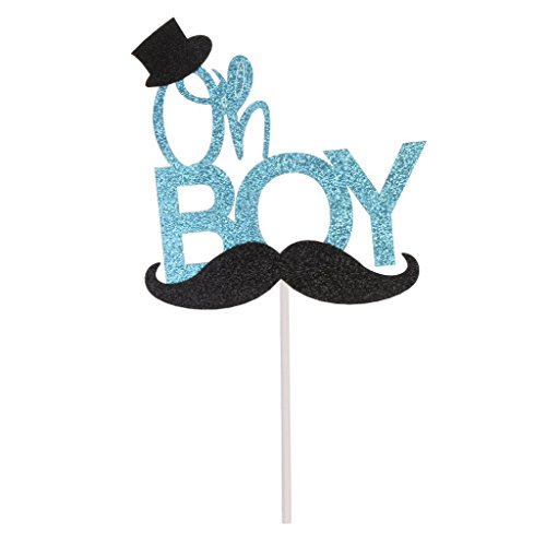 Rainlemon(TM) Glitter Blue Mustache Oh Boy Cake Topper Birthday Party Baby Shower Cake Decoration]()