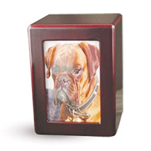 Pet Urn Cherry Wood Finish Dog Cat Animal Urn Photo Box Urn (For Pets Up To 40 Lbs.) by Pet Cremation Urn Cherry Wood Finish (Image #1)