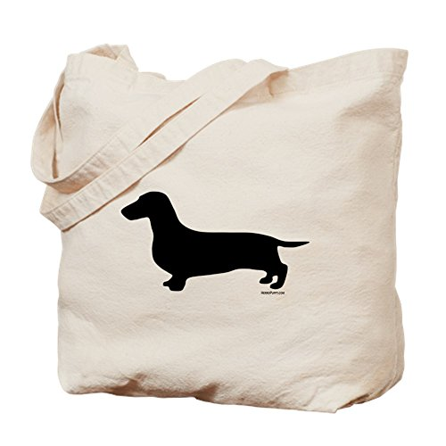 CafePress - Dachshund Silhouette - Natural Canvas Tote Bag, Cloth Shopping Bag (Pets Silhouette Bag Tote)
