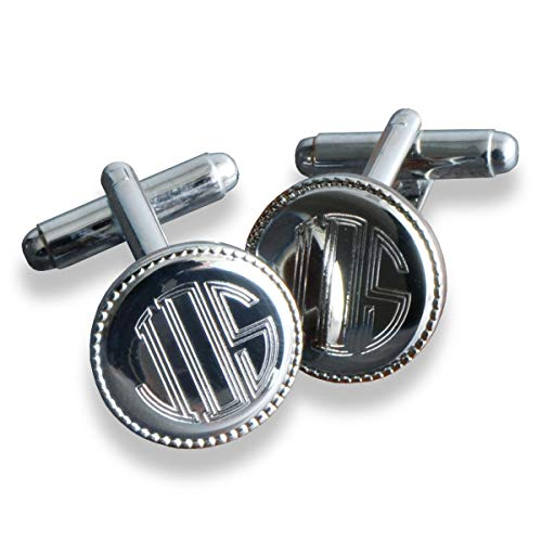 Silver Round Beaded Cufflinks - Personalized Cufflinks - Engraved Cufflinks - Custom Cufflinks