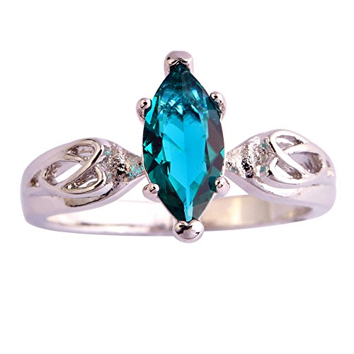 Marquise Design - Veunora Delicate Celtic Knot Design Marquise Cut Green Topaz Ring Jewelry for Women
