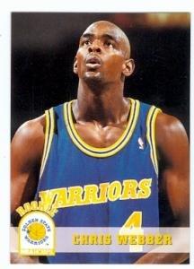 Chris Webber basketball card (Golden State Warriors) 1994 Skybox #341 Rookie Card -