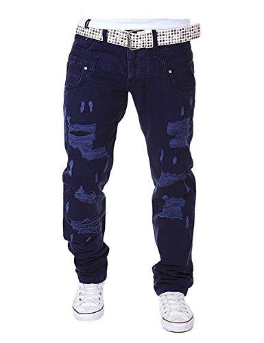 Lunghi Strappati Mode Con Navy Regolare Comodi Bolawoo Da Vita Bassa Blau A Uomo Larghi Marca Vintage Vestibilità Casual Pantaloni Di cSUxSvpT
