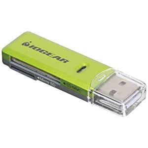 IOGEAR SD/MicroSD/MMC Card Reader/Writer GFR204SD (Green/Gray)