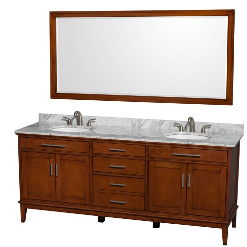 Wyndham Collection Hatton 80 inch Double Bathroom Vanity in Light Chestnut, White Carrara Marble Countertop, Undermount Oval Sinks, and 70 inch Mirror