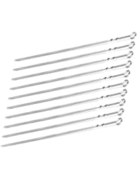 PickUp 15-inch Stainless Steel Flat Shish Kebab BBQ Skewers with S-hook Value Pack of (50) deliver