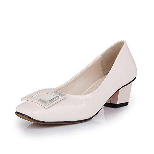 Amoonyfashion Donna Tira Su Punta Quadrata Chiusa Gattino Tacchi Pu Solide Pompe-scarpe Albicocca