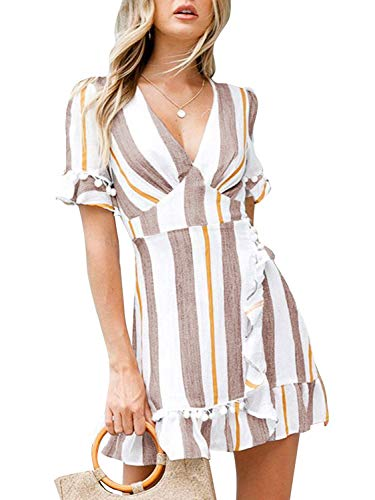 Hount Womens Sundress Short Sleeve V Neck Striped Tie Knot Casual Summer Short Mini Wrap Dress (Medium, Grey)