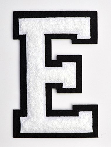 Varsity Letter Patches - White Embroidered Chenille Letterman Patch - 4 1/2 inch Iron-On Letter Initials (White, Letter E Patch) - Jacket Patches Varsity