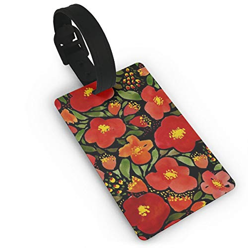 - XINLLPO Watercolor Red Poppy Flower Travel Luggage Suitcase Labels ID Tags Business Card Holder