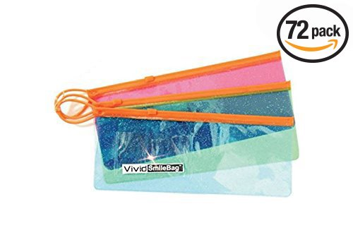 Box of 72 Sparkle Zipper Lock Pouch Patient Giveaway Bags with business card holder