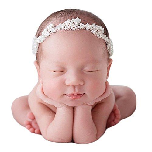 Zeroest Baby Photography Props Pearl Headband Newborn Photo Prop Rhinestone Hair Accessories White