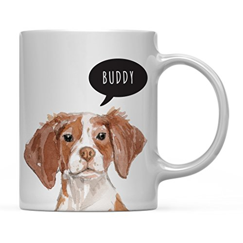 Andaz Press Personalized 11oz. Dog Coffee Mug Gift, Brittany Up Close, 1-Pack, Custom Name, Pet Animal Lover Birthday Christmas Gift for Her Family by Andaz Press