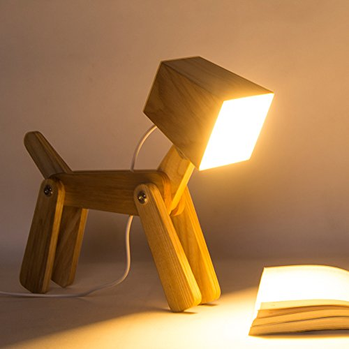 HROOME Modern Cute Dog Adjustable Wooden Dimmable Beside Desk Table Lamp Touch Sensor with Night Light for Bedroom Office Kids(Warm white (Wooden Nursery Lamp)