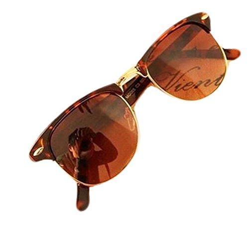 GAMT Vintage Inspired Half Frame Horn Semi-rimless Sunglasses Leopard ()