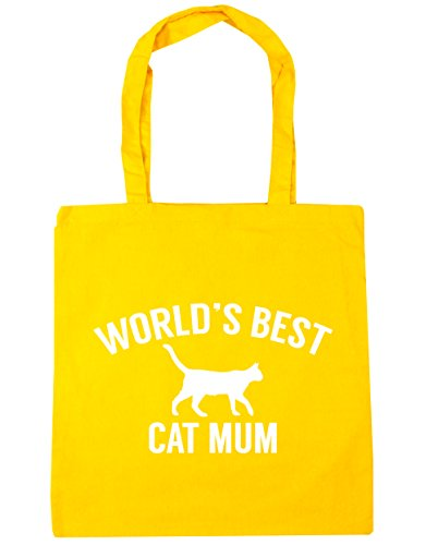10 HippoWarehouse Bag World's x38cm 42cm Yellow Beach Gym cat Shopping litres best mum Tote SP4xrwqS1