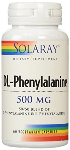 Solaray DL-Phenylalanine Free Form Vegetarian Capsules, 500 mg, 60 Count