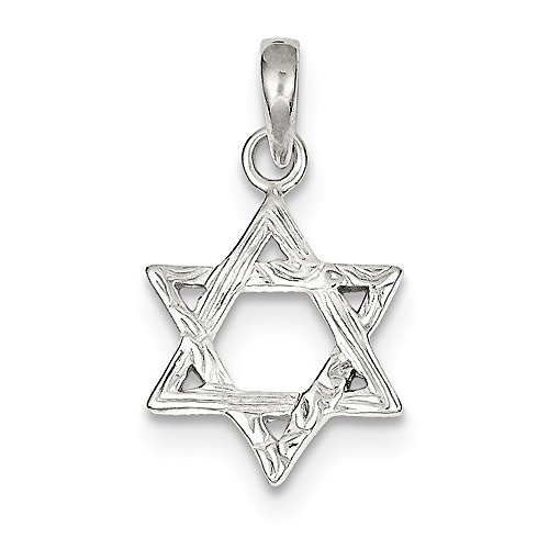 (Sterling Silver Textured Star Of David Pendant (21 mm x 14 mm))