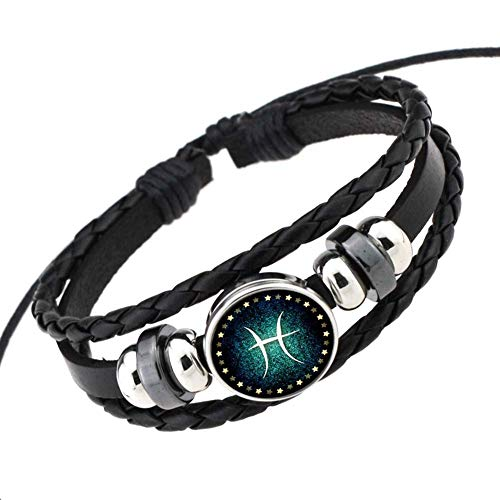 EveyWell Rosemes Retro 12 Constellation Beaded Hand Woven Leather Bracelet PUNK Chain Cuff,Pisces