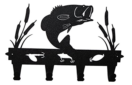 Wall Mounted Black Metal Bass Coat and Hat Rack By Mustard Seed Metal ()