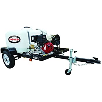 Simpson Cleaning 95000 Mobile Gas Pressure Washing System with Honda Commercial Engine and Trailer, 7'