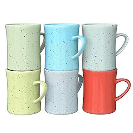 Ceramic Vintage Coffee Mugs Set Of 6 Multicolored Coffee Cups Retro Mugs Made Of Ceramic Microwave Dishwasher Safe Decorative Cups For Your