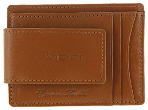 Viosi Genuine Kingston Leather Magnetic Front Pocket Money Clip Made with Powerful RARE EARTH Magnets (Tan)