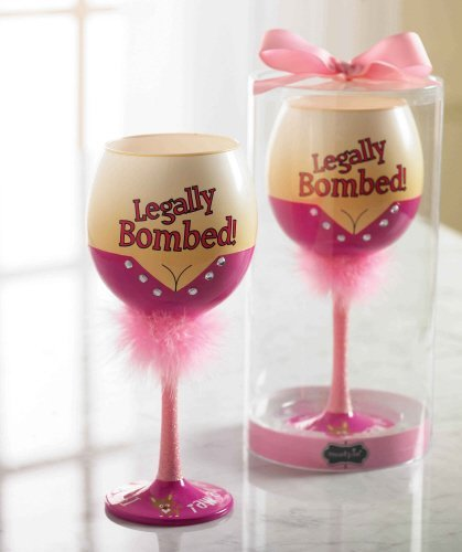 Mud Pie Legally Bombed Wine Glass