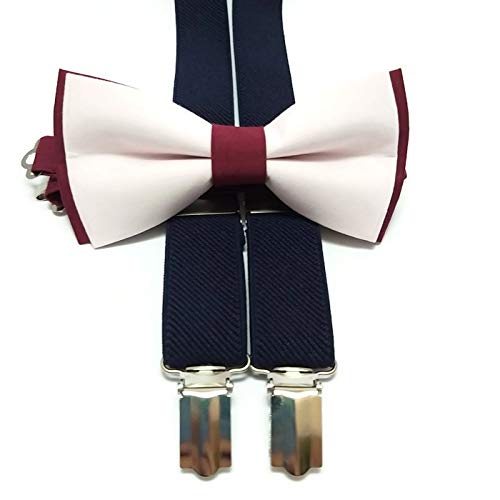 16c816acc00 Amazon.com  BURGUNDY+BLUSH cotton bow tie and NAVY BLUE suspenders for  groomsmen for groom outfit for ring bearers men  Handmade