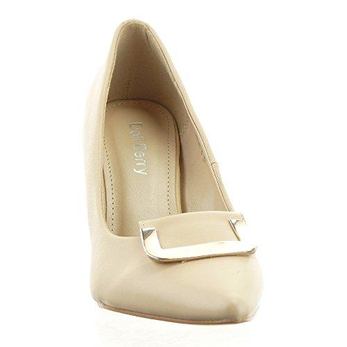 Sopily - Zapatillas de Moda Tacón escarpín Stiletto decollete Tobillo mujer metálico Talón Tacón de aguja alto 8.5 CM - Beige
