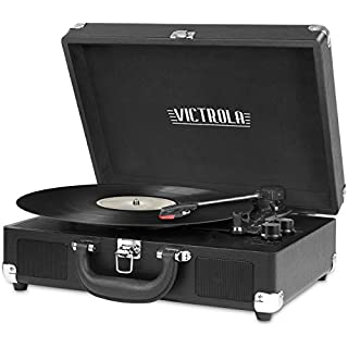 Victrola Vintage 3-Speed Bluetooth Portable Suitcase Record Player with Built-in Speakers | Upgraded Turntable Audio Sound| Includes Extra Stylus | Black, Model Number: VSC-550BT-BK
