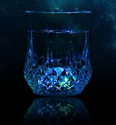 Rifrano Whiskey Stones - Set of 6 Chill Rocks - 2 LED Glowing Cup for Party Drink - Set of Box with Velvet Carrying Pouch