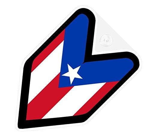 - JDM Puerto Rico Rican Flag Car Decal Wakaba Driver Badge not vinyl sticker