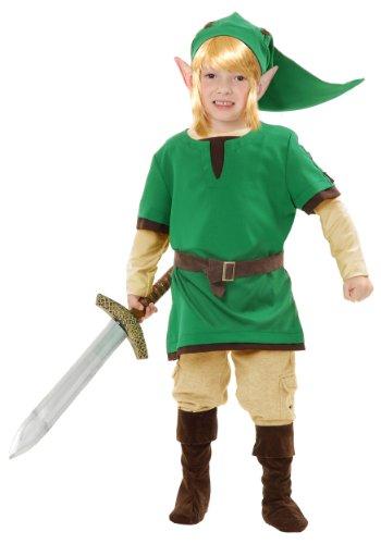 Kids Elf Warrior Costume – Legend of Zelda Link Costume (Large (Princess Zelda Hyrule Warriors Costume)