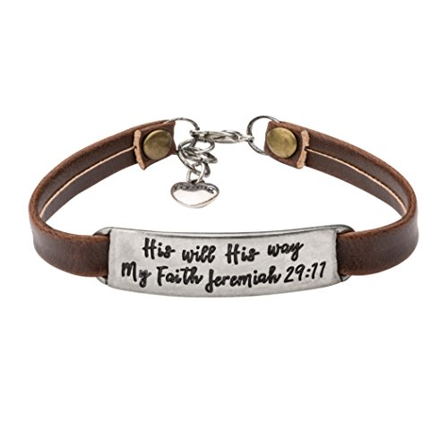 Yiyang Religious Bracelets for Women Bible Verse Jewelry for Christians Graduation Birthday Leather Charm Bracelet Engraved His Will His Way My Faith