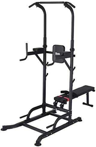 Multi Function Durable Steel Pull Up Bar Dip Station Stand Knee Raise Pushing Ups Sports Equipment for Home Gym Fitness Exercise AYNEFY Power Tower