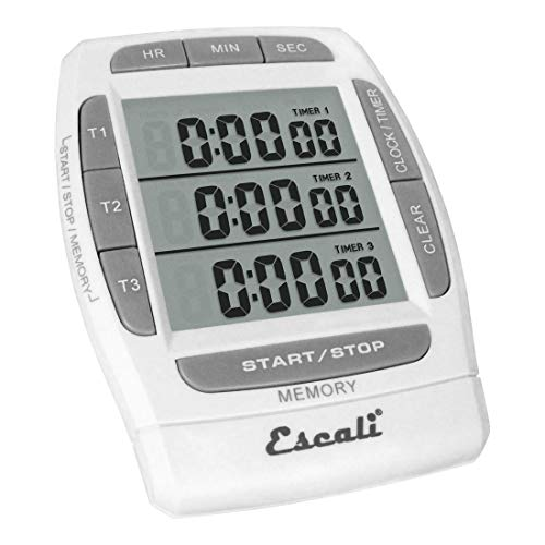 Escali DR5 Triple Event, Digital Timer, LCD Display, White
