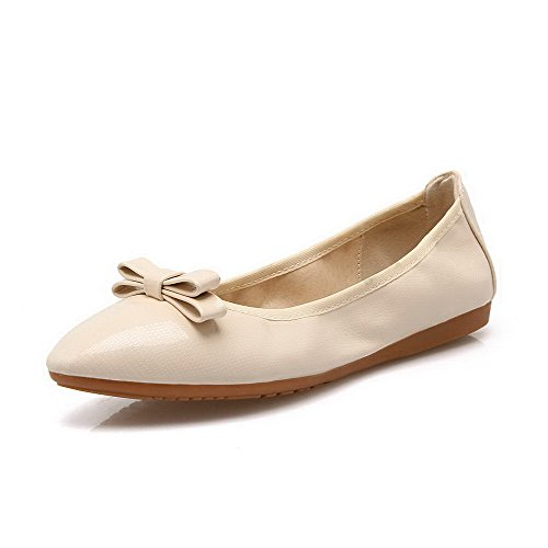 Women's Round Toe Square Heel Korean Casual Shoes with Buckle Beige - 5