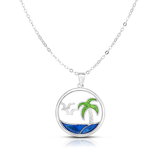 Enamel Tropical Fish Charm - Unique Royal Jewelry Solid Sterling Silver Cubic Zirconia Seagull and Palm Tree Adjustable Length Disk Pendant Necklace (Natural Silver)