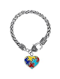 Charmed Craft Autism Awareness Puzzle Jigsaw Classic Square Bracelet Cuff Chain Bracelets