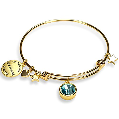 ne Charm Expandable Bangle Bracelets for Women, Mother's Day Jewelry Gifts ()